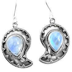 Natural rainbow moonstone 925 sterling silver dangle earrings d27580