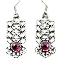 Clearance Sale- 925 sterling silver natural red garnet dangle earrings jewelry d27584