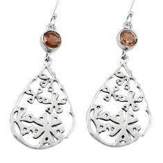 Clearance Sale- Brown smoky topaz 925 sterling silver dangle earrings jewelry d27585