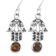 Clearance Sale- Brown smoky topaz 925 sterling silver hand of god hamsa earrings d27588