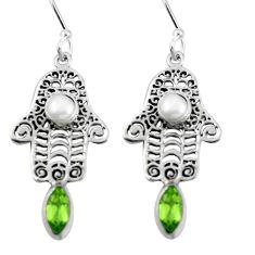 Clearance Sale- Natural green peridot pearl 925 silver hand of god hamsa earrings d27592