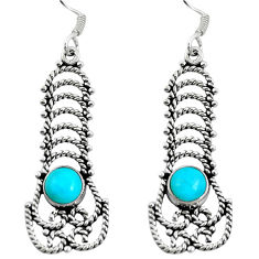 Blue sleeping beauty turquoise 925 silver dangle earrings jewelry d27606