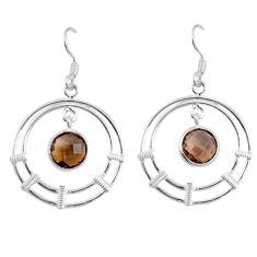 Clearance Sale- Brown smoky topaz 925 sterling silver dangle earrings jewelry d27615