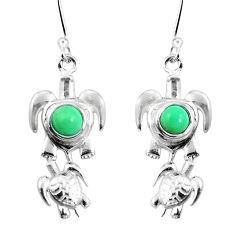 Natural green variscite 925 sterling silver tortoise earrings d27628