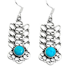 Clearance Sale- Green arizona mohave turquoise 925 sterling silver dangle earrings d27634