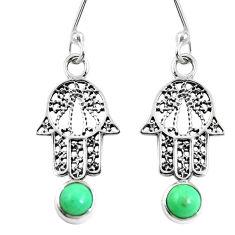 Natural green variscite 925 silver hand of god hamsa earrings d27636