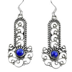 Clearance Sale- Natural blue lapis lazuli 925 sterling silver dangle earrings d27640