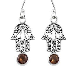Clearance Sale- 925 sterling silver brown smoky topaz hand of god hamsa earrings d27644