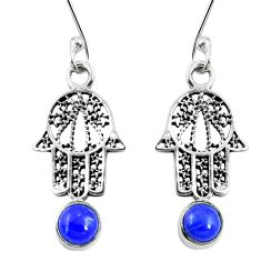 Natural blue lapis lazuli 925 silver hand of god hamsa earrings d27647