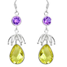 Clearance Sale- Natural lemon topaz amethyst 925 sterling silver dangle earrings d27654