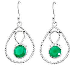 Clearance Sale- 925 sterling silver natural green chalcedony dangle earrings jewelry d27656