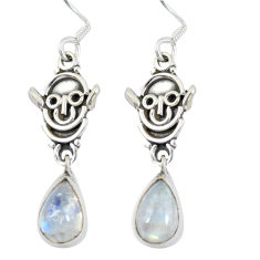 Clearance Sale- Natural rainbow moonstone 925 sterling silver dangle earrings d27666