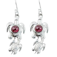 Natural red garnet 925 sterling silver tortoise earrings jewelry d27668