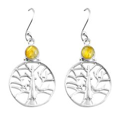Clearance Sale- Natural golden tourmaline rutile 925 silver tree of life earrings d27688