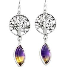 Multi color ametrine (lab) 925 silver tree of life earrings jewelry d27705