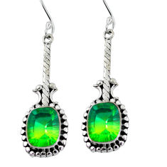 Clearance Sale- Green tourmaline (lab) 925 sterling silver dangle earrings d27722