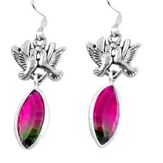 925 silver watermelon tourmaline (lab) love birds earrings jewelry d27730