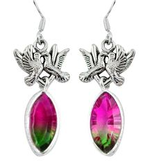 Watermelon tourmaline (lab) 925 silver love birds earrings jewelry d27736