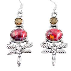 Natural mexican laguna lace agate 925 silver dragonfly earrings d27742