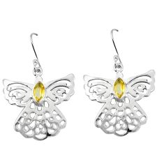 Clearance Sale- Natural yellow citrine 925 sterling silver dangle earrings d27755
