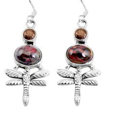 Natural black pietersite (african) 925 silver dragonfly earrings d27762