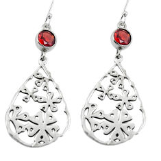 Clearance Sale- Natural red garnet 925 sterling silver dangle earrings jewelry d27763