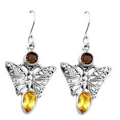 925 silver natural yellow citrine smoky topaz butterfly earrings d27765