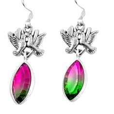 Watermelon tourmaline (lab) 925 silver love birds earrings jewelry d27771