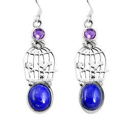 Clearance Sale- Natural blue lapis lazuli amethyst 925 silver dangle earrings d27772