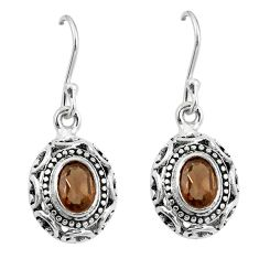 Clearance Sale- Brown smoky topaz 925 sterling silver dangle earrings jewelry d27780