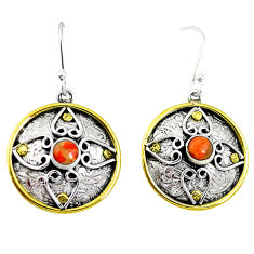 Clearance Sale- Red copper turquoise 925 sterling silver 14k gold dangle earrings d27788