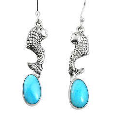 Clearance Sale- 925 sterling silver natural blue larimar fish earrings jewelry d27805