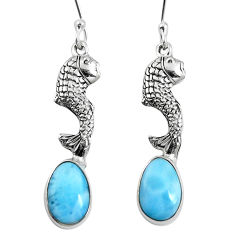 Clearance Sale- Natural blue larimar 925 sterling silver fish earrings jewelry d27807