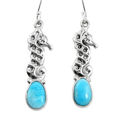 Clearance Sale- Natural blue larimar 925 sterling silver dangle seahorse earrings jewelry d27810