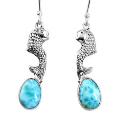 Clearance Sale- Natural blue larimar 925 sterling silver fish earrings jewelry d27812