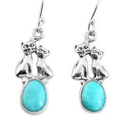 Natural blue larimar 925 sterling silver two cats earrings d27813