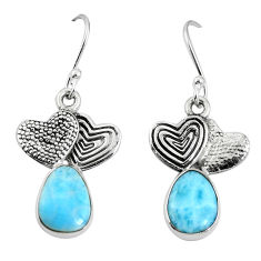 Clearance Sale- Natural blue larimar 925 sterling silver couple hearts earrings d27818