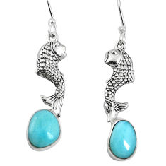 Clearance Sale- 925 sterling silver natural blue larimar fish earrings jewelry d27819