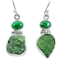 Clearance Sale- Moldavite (genuine czech) malachite (pilot's stone) 925 silver earrings d27853