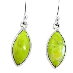 925 silver natural yellow lizardite (meditation stone) dangle earrings d27864