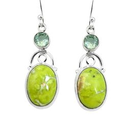 Natural yellow lizardite (meditation stone) 925 silver dangle earrings d27874