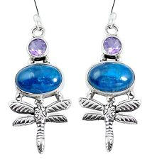 925 silver natural blue apatite (madagascar) dragonfly earrings jewelry d27904