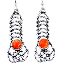 Red copper turquoise 925 sterling silver dangle earrings jewelry d27905