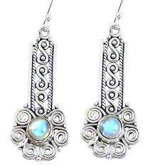 Clearance Sale- Natural rainbow moonstone 925 sterling silver dangle earrings d27907