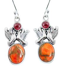 Clearance Sale- Red copper turquoise garnet 925 silver love birds earrings jewelry d27912