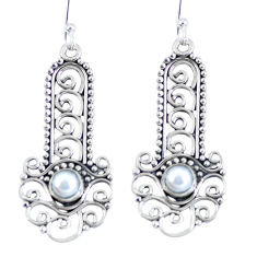 Clearance Sale- Natural white pearl 925 sterling silver dangle earrings jewelry d27921