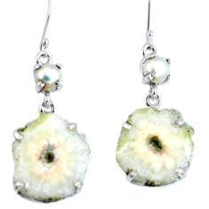 Natural white solar druzy pearl 925 silver dangle earrings d27923