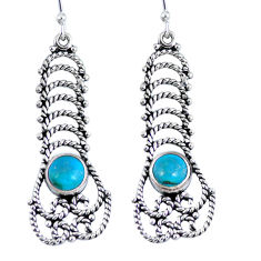Green arizona mohave turquoise 925 silver dangle earrings jewelry d27928