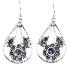 925 sterling silver multi color rainbow topaz dangle earrings jewelry d27934