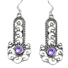 Natural purple amethyst 925 sterling silver dangle earrings d27939